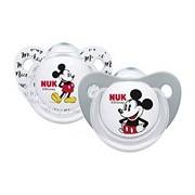 Mickey & minnie chupeta em silicone 6-18meses cinzento e branco 2unidades - Nuk