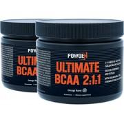 PowGen Ultimate BCAA 2:1:1 Dos cajas BCAA en polvo con magnesio y zinc Regeneración muscular Sabor a naranja 2x 174 g de polvo (5,8 g por porción)