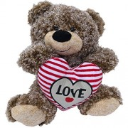 Valentines Teddy Bear Tan Curly Hair Plush with LOVE Heart - 11 inch Valentines Day Stuffed Animal - Soft Tan Brown Bear Sitting with Big Red Stitched Love Heart Perfect Valentines Day Gift