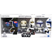 Hasbro Star Wars Exclusive 3 Pack 3 Inch Tall Mini Muggs Figure Set - CAD BANE the Bounty Hunter General Grievous the Supreme Commander of the Droid Army Plus Captain REX the Clone Trooper Captain