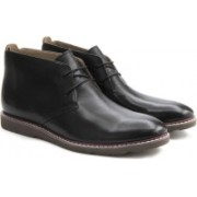 Clarks Gambeson Top Black Leather Boots For Men(Black)