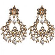 Lucky Jewellery Designer White Color Gold Plating Kundan Earring For Girls & Women