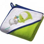 Бебешка велурена хавлия с качулка с подарък гъба за баня, 138/04 Babyono, 5901435406885