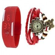 Red Leather And Led Combo Watch Special Offer