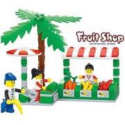 Fruit shop Commercial Street - 114 pcs building blocks sea side souk stalls set with fruits veggies money customer an