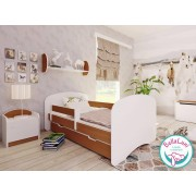 Łóżko dziecięce z szufladą HAPPY - buk 140x70 cm