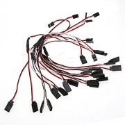 Generic Mxfans10 PCS 30cm Long 2 Male to Single Female RC Servo Y Extension Lead Wire Cable