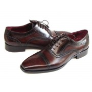 Paul Parkman Cap Toe Hand Painted Oxford Shoes Bordeaux & Brown 024-BRWBRD