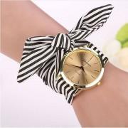 Geneva Women Watches Striped Floral Cloth Band Clock Dial Bracelet Quartz Wristwatch