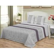 3 részes ágytakaró szett 200x220 cm - exkluzív szürke barokk mintás