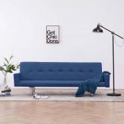 vidaXL Разтегателен диван с подлакътници, син, полиестер