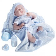 """JC Toys Deluxe Realistic Baby Boy Doll, 15.5"""", Blue"""