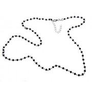 Bracciale o Collana uomo donna Argento 925 Con cristallo nero 3,5 mm lavorazione rosario marsigliese fatto a mano (collana 60+5 cm)