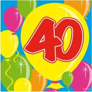 Folat 40x Papieren servetjes 40 jaar Balloons thema feestartikelen 25 x 25 cm