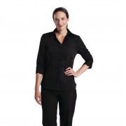 Uniform Works dames stretch shirt zwart S - S