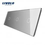 Panou intrerupator 3 x simplu din sticla LIVOLO