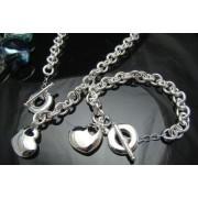 Set placat argint inimioare colier si bratara