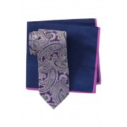 Ted Baker London Silk Tonal Paisley Tie Pocket Square Set PURPLE