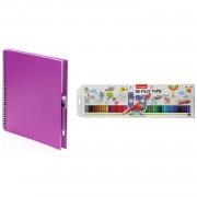 Bellatio Design Schetsboek/tekenboek roze met 50 viltstiften