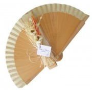 NEW! Decorated Varnished Wedding Fan - Rustic