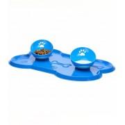 Truqys Comedouro + Bebedouro Truqys Cat Azul