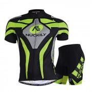 NUCKILY al aire libre de ciclo corto jersey + pantalones cortos conjunto - verde (s)