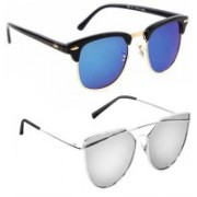 Elgator Over-sized Sunglasses(Blue, Silver)