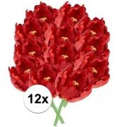 Bellatio flowers & plants 12x Rode tulp deluxe Kunstbloemen 25 cm