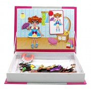 Little Treasures 54-Pcs Magnetic Dress-up Set Fashion Girl Series Dress up Baby Toy Book for Kids Ages 3 Plus