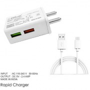 RRTBZ Dual Port Rapid Mobile Wall Charger/Travel Charger with Quick Charge 2.4A + Free Micro USB Cable