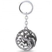 Optimus traders Game of Thrones Fire and blood Targaryen Dynasty Badge 3D metal Key Chain(Silver)