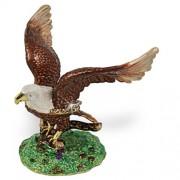 Objet D'Art Release #85 'Wings' Patriotic USA Bald Eagle Handmade Jeweled Metal & Enamel Trinket Box