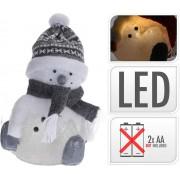 Svetlo LED snehuliak 28CM so sivým šálom a čiapkou, postavička, dekorácia