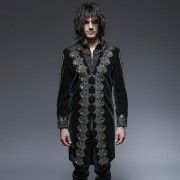Punk Rave Gothic Noble Embroidered Long Coat Black Y-641