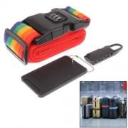 3 in 1 Travel Security Kit Resettable Combination Padlock Set Locks + Belt Strap + ID Tag