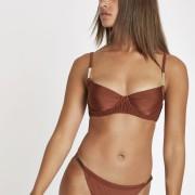 River Island Womens Brown shirred balconette bikini top (10)