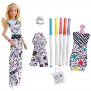 Mattel barbie crayola colora la moda-con pennarelli e abiti da colorare, fph90