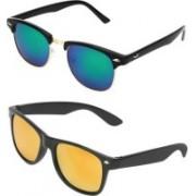 HAIRUM Wayfarer, Clubmaster Sunglasses(Blue, Yellow)