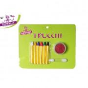 Set 6 trucchi stick vari colori per dipingere volto piu pennello e glitter rosso 725354 617