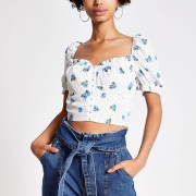 River Island Womens White ditsy floral puff sleeve crop top (6)