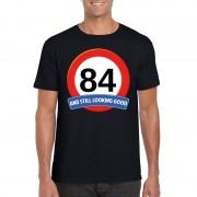 Bellatio Decorations Verkeersbord 84 jaar t-shirt zwart heren