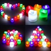 Tea Light LED Candles Battery Operated Ultra Bright Candle for Home Decoration Diwali Festival Multicolored (Pack of 12)