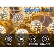 Guirlande lumineuse LED 7M 20 Boules argentées blanc chaud. ref gl-01