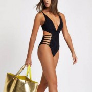 River Island Womens Black knot front strappy plunge swimsuit - Size 38