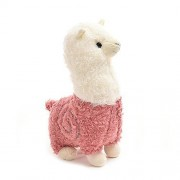 COFFLED Adorable Alpaca Sheep Stand Stuffed Animal Toys for Baby Nursery Decoration; Plush Elephant Rattle Ring Attract Baby's Attention