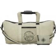 NEUDIS Genuine Leather & Recycled Stone Washed Canvas Duffle Bag for Gym & Travel - Original Gym Bag(Beige)