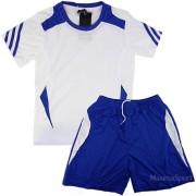 Детски волейболен екип фланелка с шорти бяло със синьо