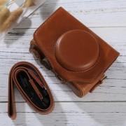 Full Body Camera PU lederen tas tas met riem voor Canon PowerShot SX730 HS / SX720 HS (bruin)