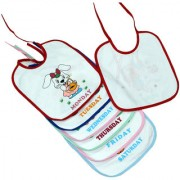Dazzle Baby Bibs Table bib Waterproof Cotton Monday to Sunday Weekdays Baby Unisex Cotton Washable bib Combo of 7 Piece