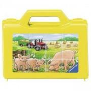 Дървен пъзел - Кубчета с животни от фермата - Ravensburger, 7007471